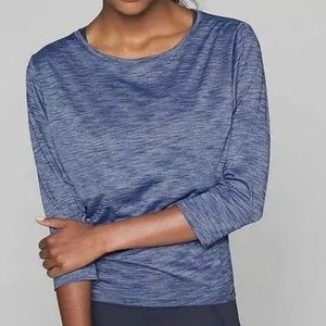 Athleta Raincheck Heather Blue Monarch Workout Top